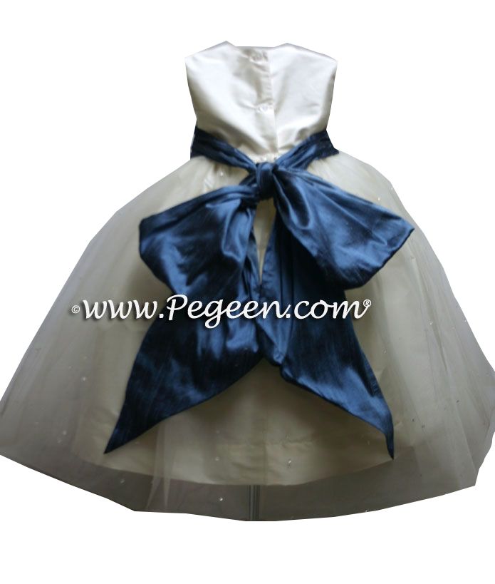 New ivory and arial blue silk and tulle flower girl dress to match Ann Taylor
