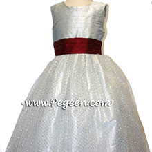 PLATINUM SILVER GRAY and CRANBERRY RED ballerina style FLOWER GIRL DRESSES with tulle