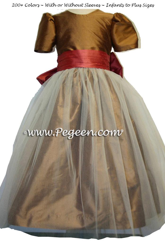 Ginger and Sunset Orange Silk and Tulle Flower Girl Dress