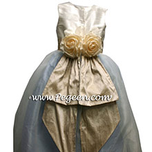 Taupe and blue flower girl dresses