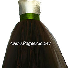 Chocolate and green tulle flower girl dresses