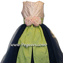 Navy and Pink tulle silk flower girl dresses