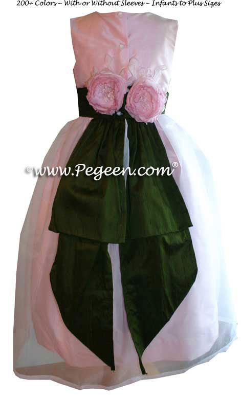 Bubblegum Pink and Parsley Green Custom Flower Girl Dresses Style 313