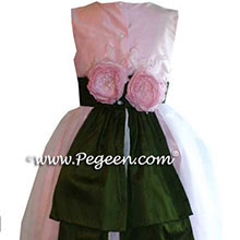 PINK AND GREEN flower girl dresses