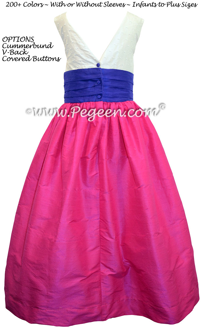 Flower Girl Dresses in Boing hot pink and Sapphire blue silk with pearls