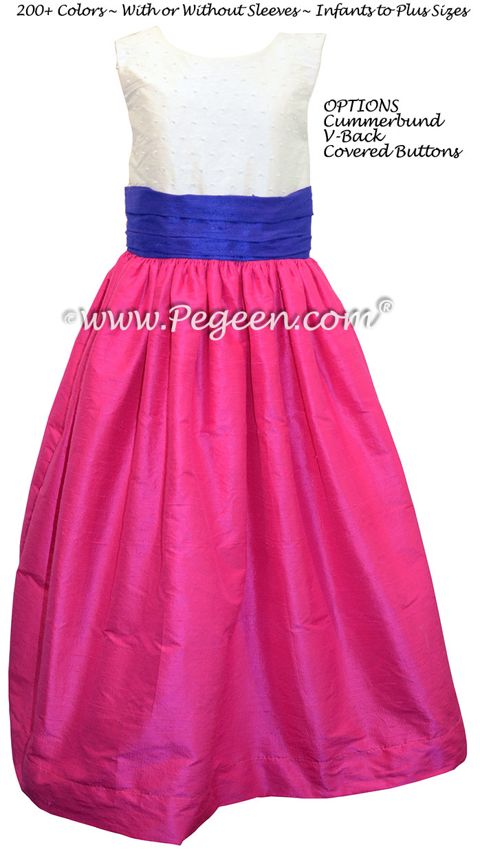 Boing Hot Pink And Sapphire Silk Flower Girl Dresses With Pearls