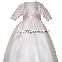 Antique White and petal pink flower girl dress with sleeves