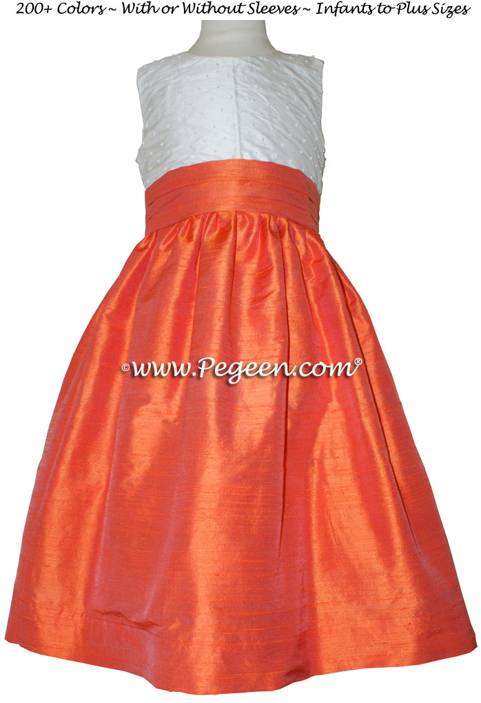 Flower Girl Dresses in Orange and Antique White silk with pearls