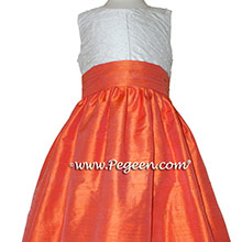 Orange silk and white silk with pearled bodice flower girl dress
