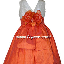 Orange and Antique White Flower Girl Dresses in silk style 370