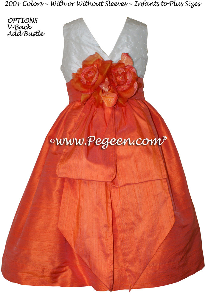 Orange and Antique White with Pearls flower girl dresses Style 355