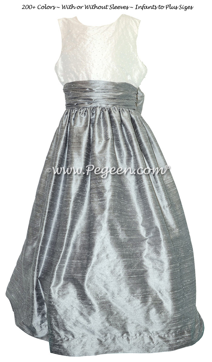 Silver Gray and Antique White with Pearls flower girl dresses