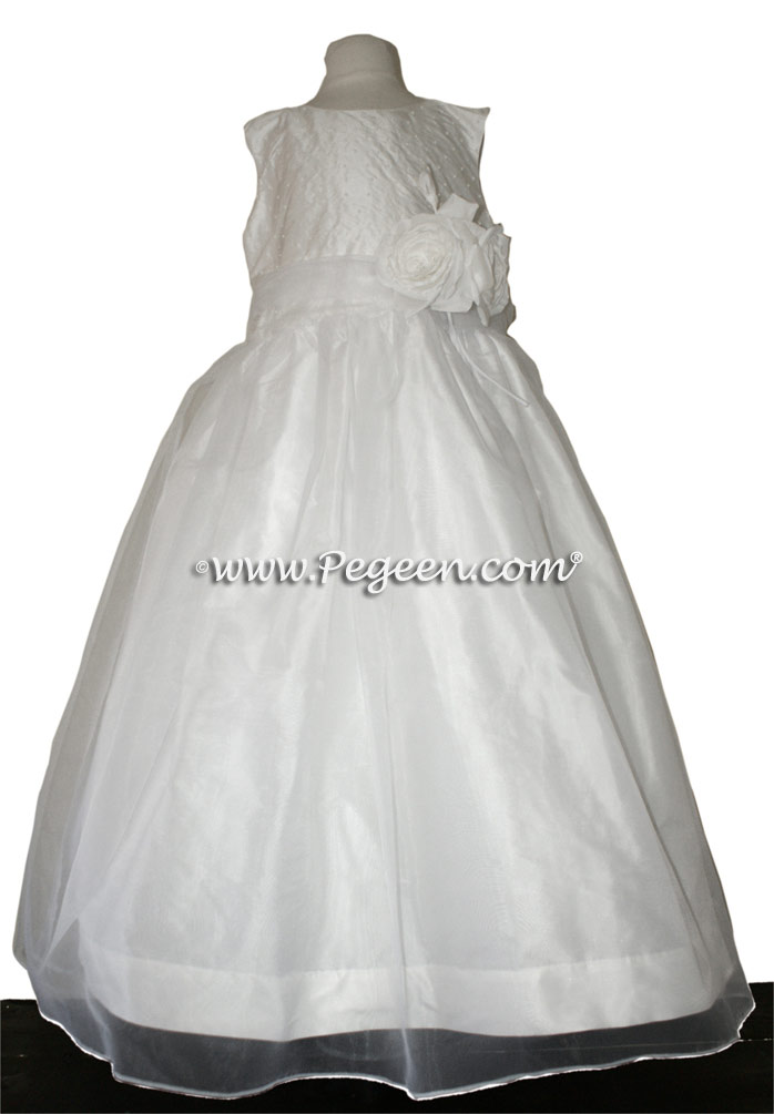 ANTIQUE WHITE CUSTOM FLOWER GIRL DRESSES STYLE 325 BY PEGEEN