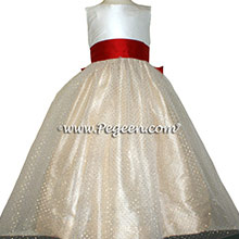 Antique White, CHRISTMAS RED AND PURE GOLD Flower Girl Dresses