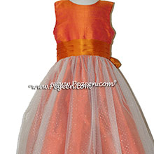 Mango and tangerine and Glitter Tulle flower girl dresses