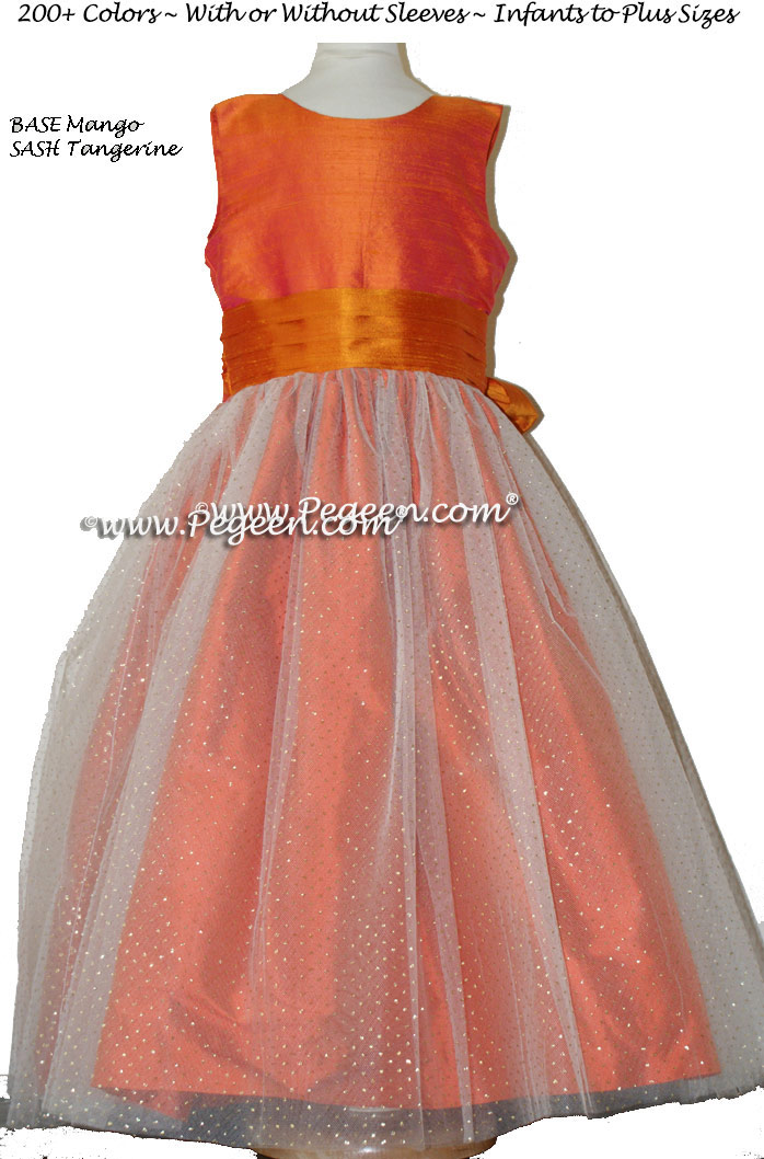 Mango and Tangerine and Glitter Tulle Flower Girl Dresses Style 372