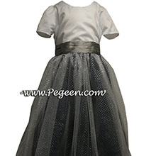 sparkle tulle in black and silver gray silk and silver tulle flower girl dresses