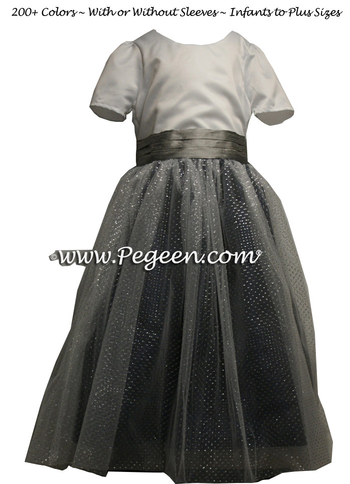 Sparkle tulle in black and silver gray tulle flower girl dresses Silk style 372 by PEGEEN