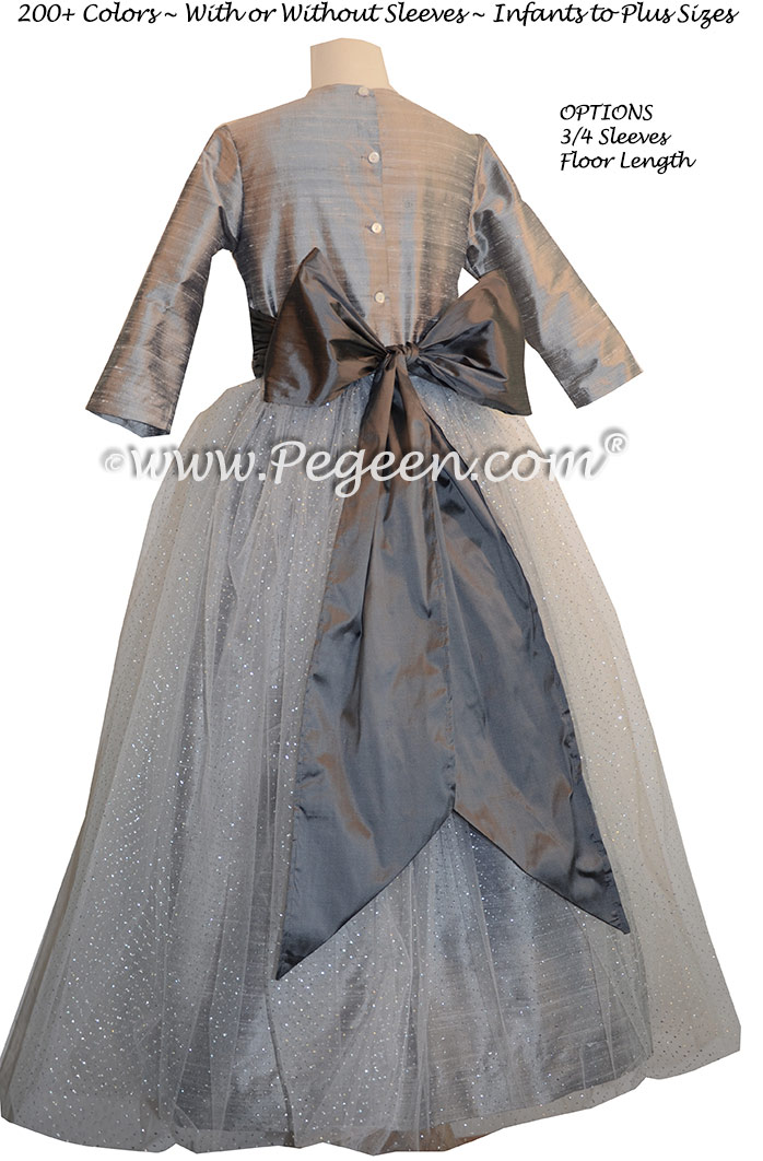 Silver Gray and Medium Gray silk flower girl dresses Style 372