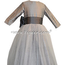 Silver Gray and Medium Gray silk Flower Girl Dress - Style 372