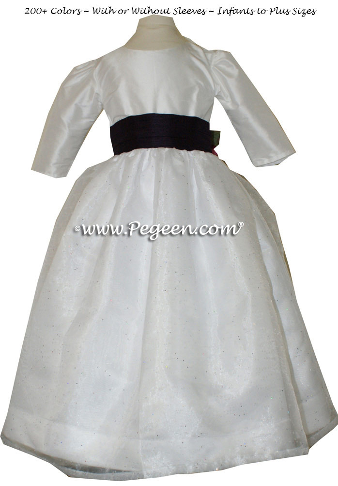 Antique White and Plum (1000 Nights) flower girl dress with back flowers and 3/4 sleeves