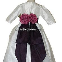 WINTER CUSTOM White and Plum Flower Girl Dresses IN Antique White and Antique White