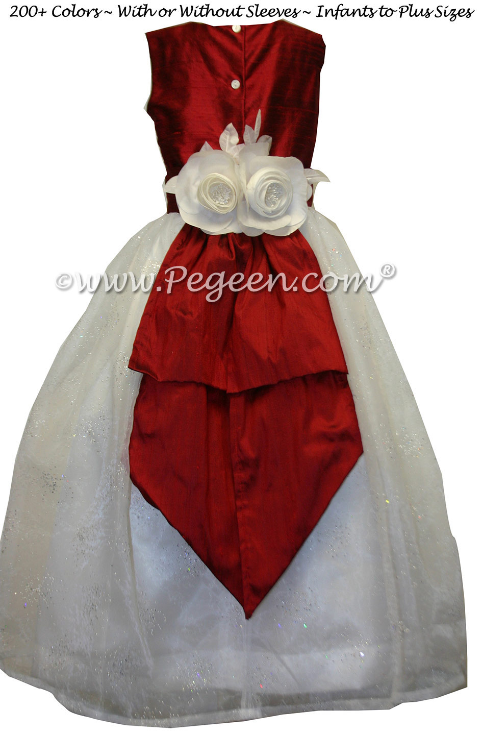 Red And Antique White And Sparkle Organza Flower Girl Dress Pegeen