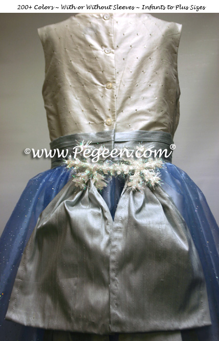 nutcracker clara dress WINTER CUSTOM HOLIDAY FLOWER GIRL DRESSES IN BLUE AND SILVER WITH SNOWFLAKE TRIM
