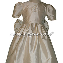 Bisque Silk Flower Girl Dresses style 379 by Pegeen with Monogramming