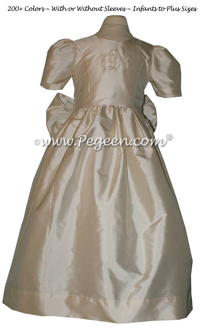 Custom Flower Girl Dress in Bisque with Monogrammed Bodice