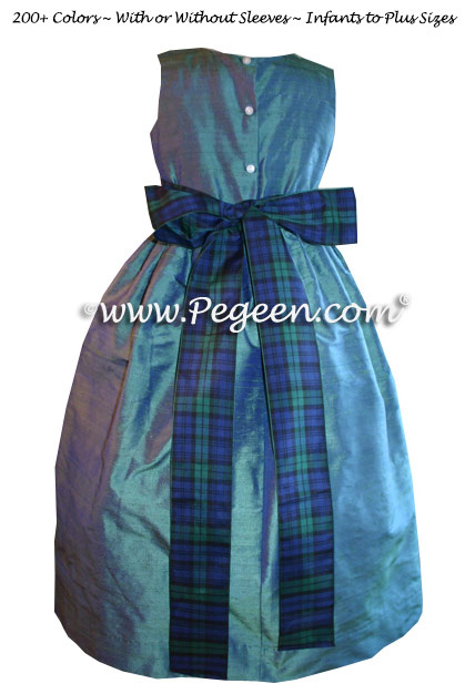 Scottish Matching FLOWER GIRL DRESSES with Scottish Plaid Ribbon