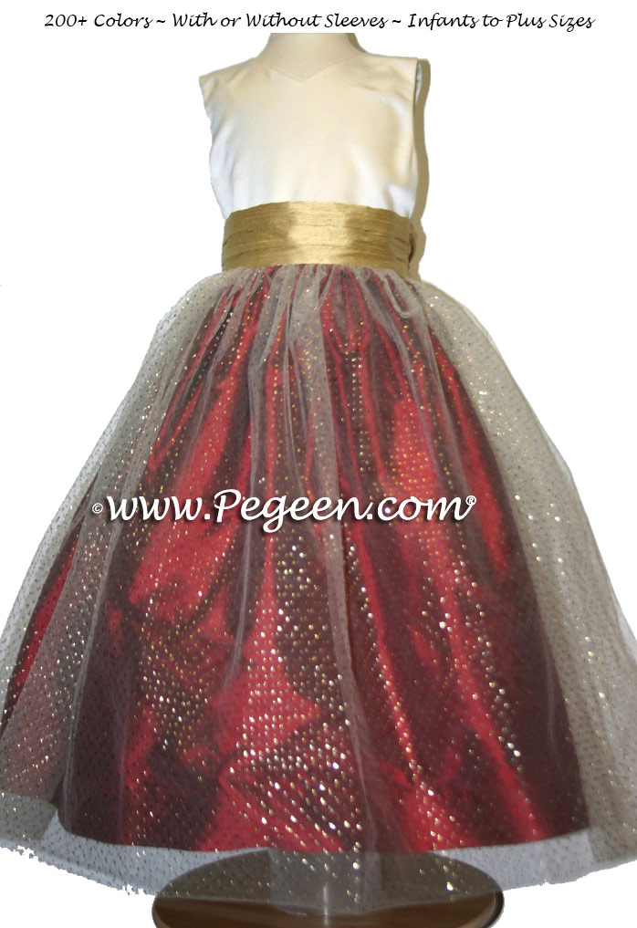 Custom Flower Girl Dress in Gold, Claret Red and Glitter Tulle