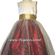 Red and gold sparkle tulle flower girl dresses