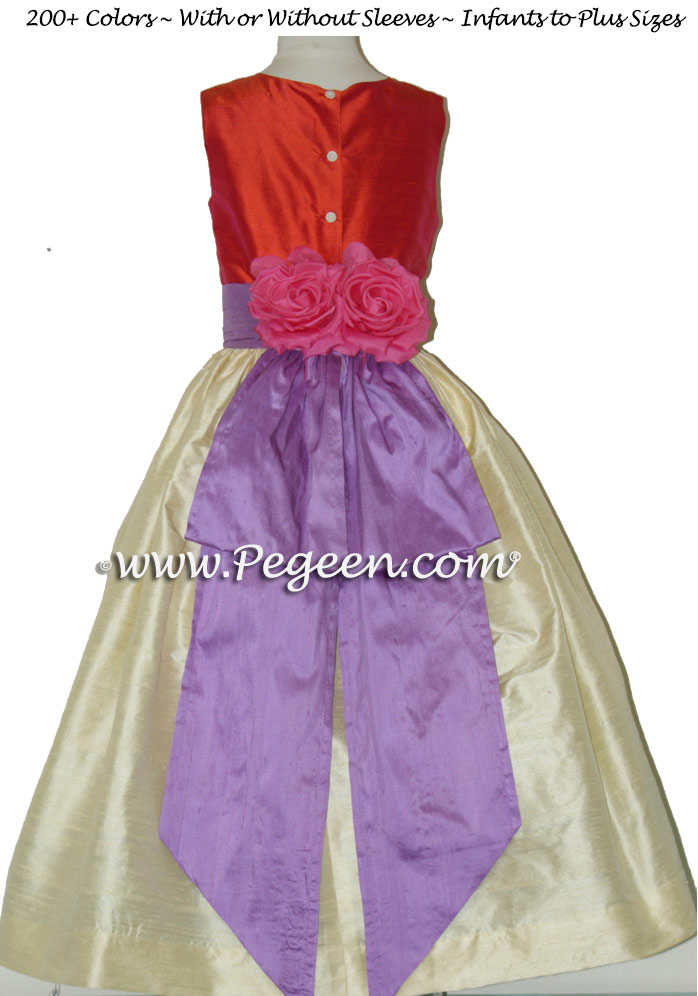 Custom Yellow, Orange Red and Purple flower girl dresses by PEGEEN