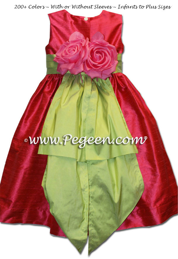 Silk Flower Girl Dresses in Lipstick Pink and Sprite Green with back flowers Style 383