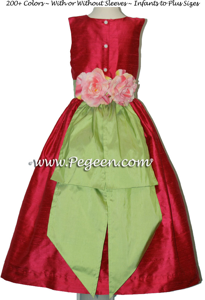 Flower Girl Dress Lipstick Pink, Sprite Green with Back Flowers | Pegeen