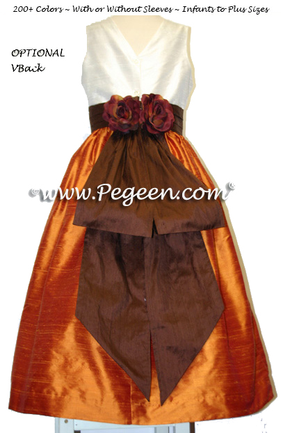 Pumpkin and Chocolate Brown Flower Girl Dresses Style 383