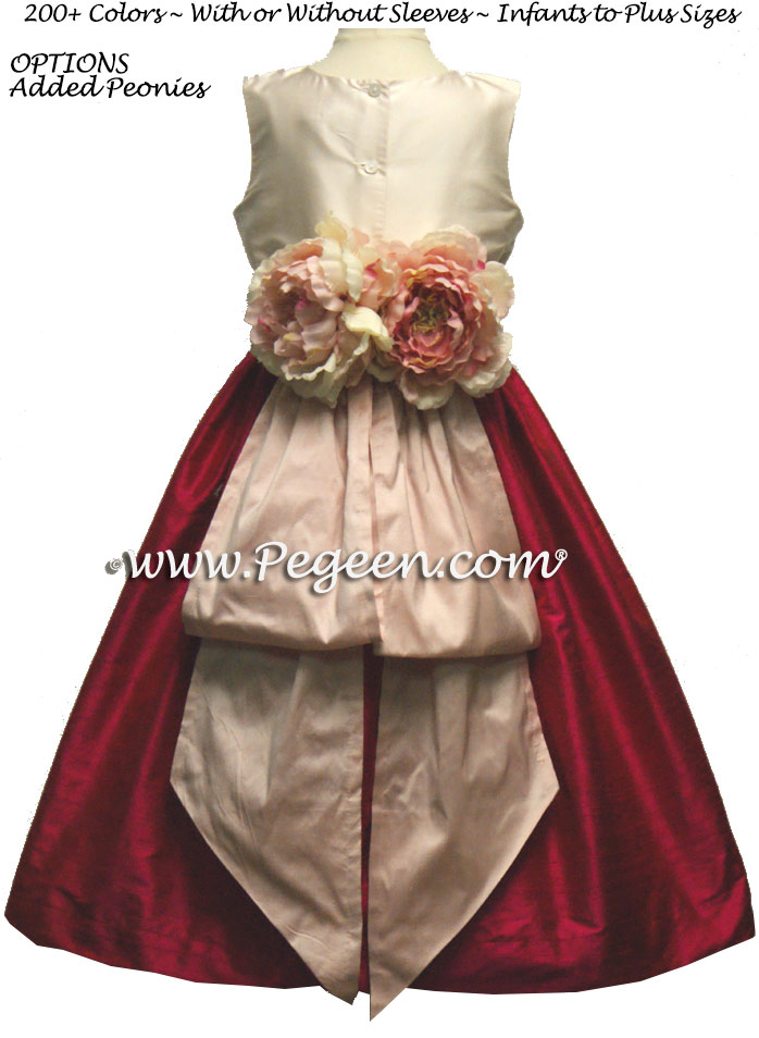 Raspberry, Shocking Pink and Shell Pink Flower Girl Dresses Style 383