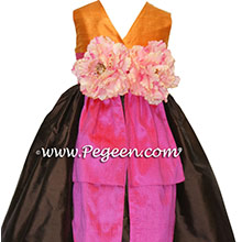 ORANGE, CHOCOLATE AND HOT PINK Flower girl dresses