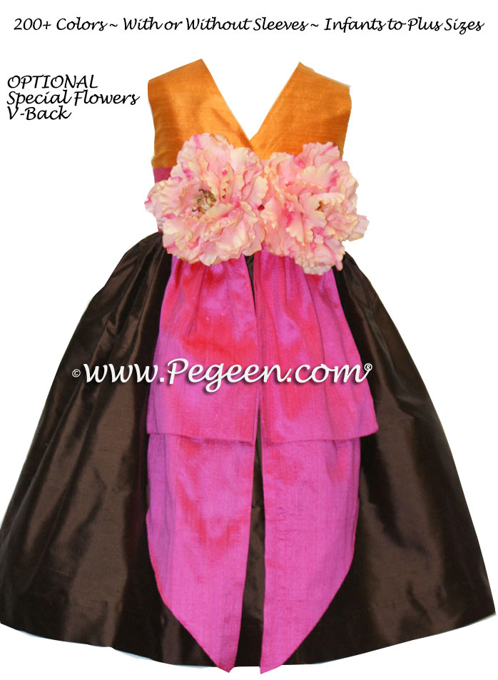 Shock Pink, Tangerine and Semi-Sweet Chocolate Flower Girl Dresses with Bustle Style 383