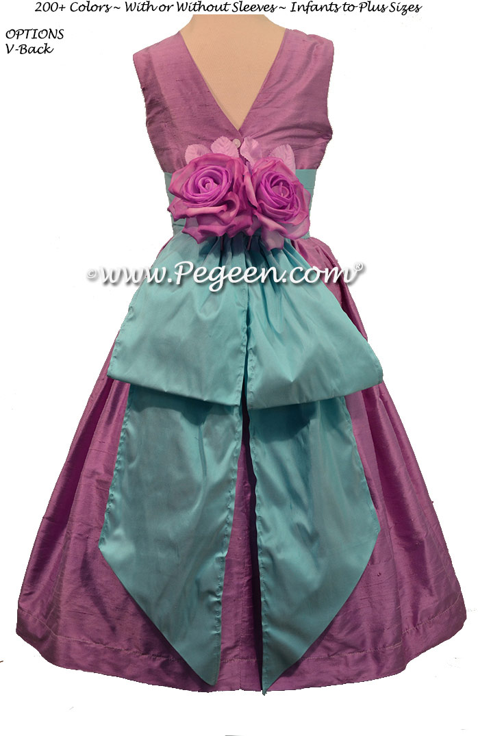 Bahama Breeze and Amethyst Silk flower girl dress style 383