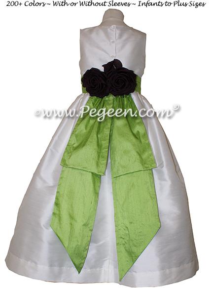APPLE GREEN antique white CUSTOM FLOWER GIRL DRESSES
