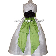 Apple Green and Antique White Silk flower girl dresses - Pegeen Style 383