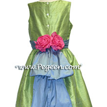 apple green and blue matching Ann Taylor junior bridesmaids dresses