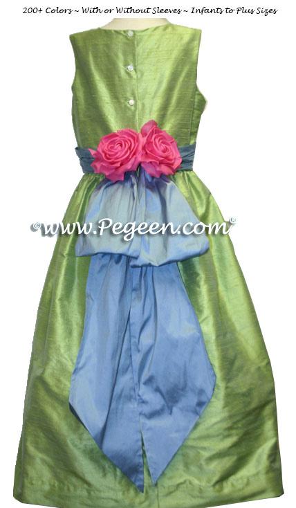 Apple Green and Blue Silk Junior Bridesmaid Dress Style 383