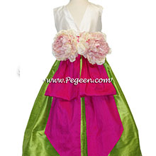 Apple Green and Boing Hot Pink Silk flower girl dresses