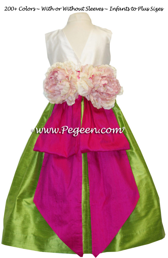 APPLE GREEN, BOING PINK AND NEW IVORY CUSTOM FLOWER GIRL DRESSES