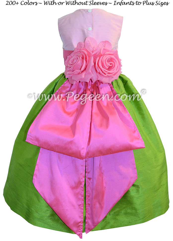 APPLE GREEN, SHOCK PINK AND BUBBLEGUM CUSTOM FLOWER GIRL DRESSES