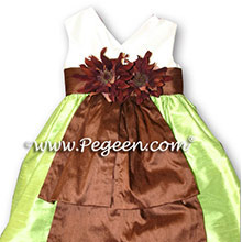 chocolate brown AND CITRUS APPLE GREEN CUSTOM Flower Girl Dresses