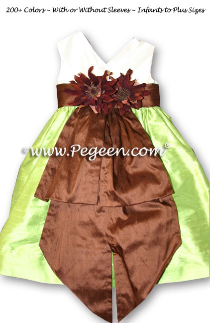 Apple Green and Chocolate Brown Flower Girl Dresses Style 383